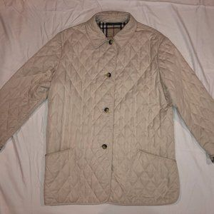 Vintage Burberry Cream Beige Quilted Jacket